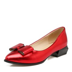Women's PU Flat Heel Flats Closed Toe With Bowknot shoes (086141412)