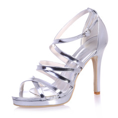 Women's Patent Leather Stiletto Heel Peep Toe Platform Sandals With Buckle