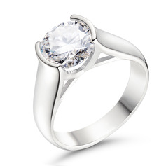 Solitaire Round Cut 925 Silver Promise Rings (306255833)