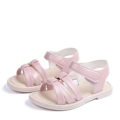 Jentas Titte Tå Leather flat Heel Sandaler Flate sko Flower Girl Shoes med Velcro Button