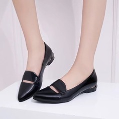Women's Patent Leather Chunky Heel Flats shoes