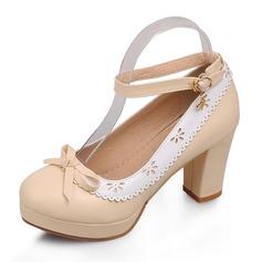 Femmes Similicuir Talon bottier Escarpins Plateforme Bout fermé avec Bowknot chaussures