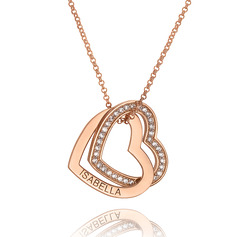 Custom 18k Rose Gold Plated Silver Heart Overlapping Two Heart Necklace Engraved Necklace With Cubic Zirconia - Birthday Gifts Mother's Day Gifts