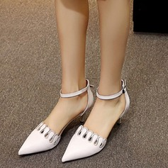 Women's Real Leather Kitten Heel Pumps Closed Toe Mary Jane With Hollow-out shoes (085117844)