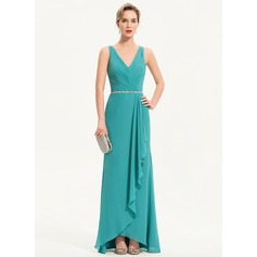 Sheath/Column V-neck Asymmetrical Chiffon Evening Dress