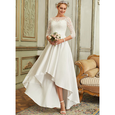 A-Line Scoop Neck Asymmetrical Satin Lace Wedding Dress
