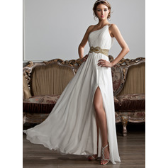 One-Shoulder Floor-Length Chiffon Prom Dresses (272214431)