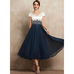 A-Line V-neck Tea-Length Chiffon Lace Evening Dress