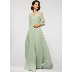 A-Line Scoop Neck Floor-Length Chiffon Evening Dress (271251617)