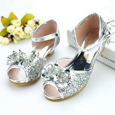 Jentas Titte Tå Leather lav Heel Pumps Flower Girl Shoes med Bowknot Spenne Rhinestone Paljetter Glitrende Glitter