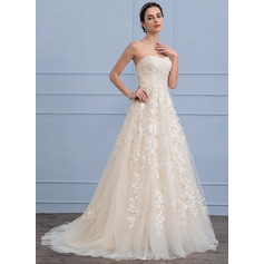 A-Line/Princess Sweetheart Sweep Train Tulle Lace Wedding Dress With Beading Sequins (002106056)