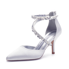 Women's Satin Stiletto Heel Sandals With Rhinestone Zipper