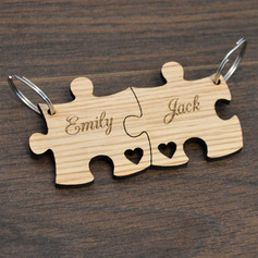 Personalized Puzzle Pieces Wooden Keychains (Set of 2)