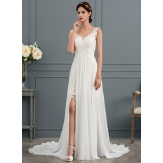 V-neck Court Train Chiffon Wedding Dress With Split Front (265253071)