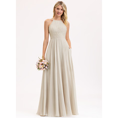 A-Line Scoop Neck Floor-Length Chiffon Lace Bridesmaid Dress With Pockets (007206453)