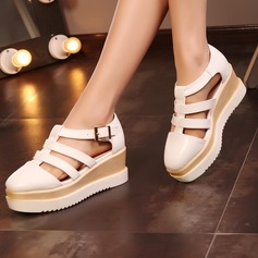 Women's Leatherette Wedge Heel Sandals With Buckle Hollow-out shoes (087115173)