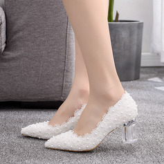 Kids' Satin Chunky Heel Closed Toe Pumps With Imitation Pearl Flower Crystal Heel Applique
