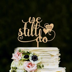 Personalized We Do Wood Cake Topper