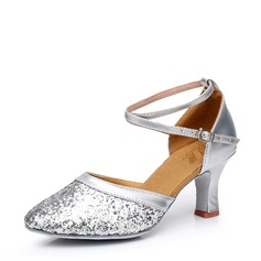 Women's Leatherette Sparkling Glitter Heels Ballroom With Ankle Strap Dance Shoes