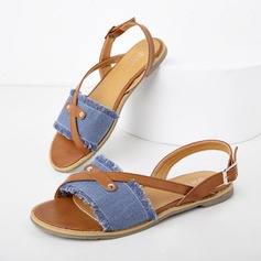 Women's Denim Flat Heel Sandals Flats Peep Toe With Buckle shoes