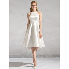 A-Line/Princess Scoop Neck Knee-Length Satin Wedding Dress With Ruffle Bow(s)