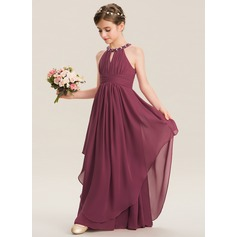 Scoop Neck Floor-Length Chiffon Junior Bridesmaid Dress (268213868)