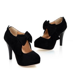 Women's Suede Stiletto Heel Pumps Platform Closed Toe Ankle Boots With Bowknot Zipper shoes