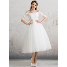 Off-the-Shoulder Tea-Length Tulle Wedding Dress With Beading Sequins