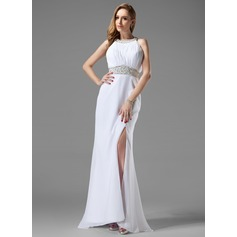 Trumpet/Mermaid Scoop Neck Sweep Train Chiffon Prom Dress With Ruffle Beading Split Front
