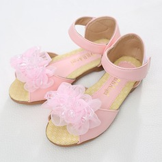Girl's Peep Toe Leatherette Flat Heel Sandals Flats Flower Girl Shoes With Beading Rhinestone Velcro Flower
