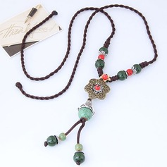 Fashional Alloy Ceramic Braided Rope Women's Fashion Necklace (Sold in a single piece)