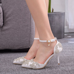 Kids' Leatherette Stiletto Heel Closed Toe Pumps Sandals MaryJane With Rhinestone Sequin