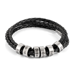 Men Braided Leather Bracelets With Custom Beads In Silver - Father's Day Gifts (106227800)