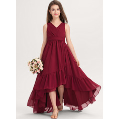 V-neck Asymmetrical Chiffon Junior Bridesmaid Dress With Bow(s) Cascading Ruffles (268236511)