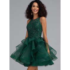 Ball-Gown/Princess Scoop Neck Short/Mini Tulle Prom Dresses With Sequins