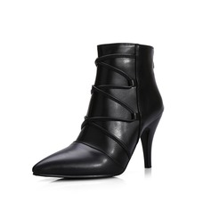 Women's Leatherette Stiletto Heel Ankle Boots With Braided Strap shoes