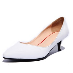 Real Leather Kitten Heel Pumps Closed Toe shoes