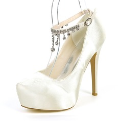 Women's Silk Like Satin Stiletto Heel Platform Pumps With Rhinestone Chain