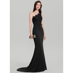 Trumpet/Mermaid One-Shoulder Sweep Train Jersey Evening Dress With Bow(s)