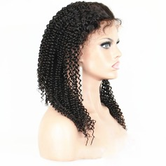 4A Non remy Curly Human Hair Lace Front Wigs 150g