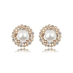 Classic Gold Plated With Pearl Ladies' Earrings