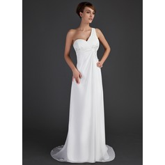 Empire One-Shoulder Sweep Train Chiffon Holiday Dress With Ruffle Beading Appliques Lace