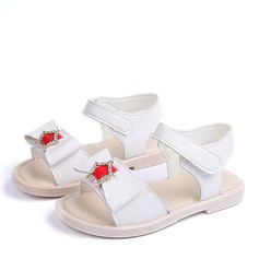 Jentas Titte Tå Leather flat Heel Sandaler Flate sko Flower Girl Shoes med Bowknot Velcro Crystal