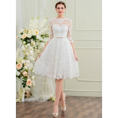 Knee-Length Lace Wedding Dress With Bow(s) (265229777)