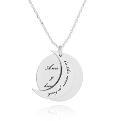 Custom Silver Overlapping Engraved Necklace Circle Necklace With Moon - Birthday Gifts Mother's Day Gifts