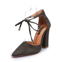 المرأة سويدي كعب مكتنز مضخات تو مغلقة مع مشبك دانتيل أحذية