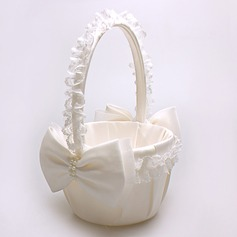 Pure Flower Basket in Satin & Lace With Bow/Faux Pearl