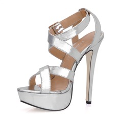 Women's Patent Leather Stiletto Heel Sandals Platform Slingbacks With Buckle shoes