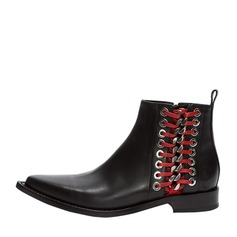 Women's Real Leather Flat Heel Flats Mid-Calf Boots With Zipper Others Braided Strap shoes
