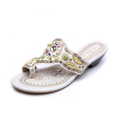 Leatherette Low Heel Sandals Flip-Flops With Beading shoes